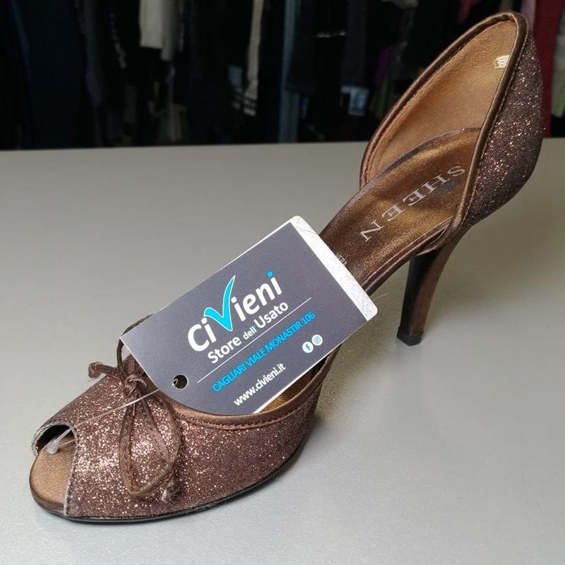 sports shoes de737 3d2ad Scarpa Donna Marrone Brillantini Sheen 37